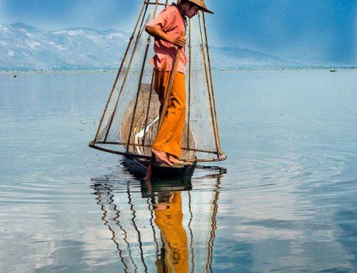 Birmanie13-pecheur lac inle reflet